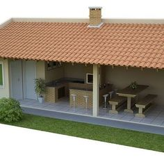 Modern Front Yard, House Games, Rest House, Outdoor Kitchen Design, Terrace Garden, Rustic Design, Backyard Patio, House Plans, New Homes