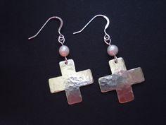 Handmade Cross Earrings-Silver Cross Earrings-Pearl by AnnaRecycle