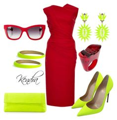 """""""Neon & Red"""" by kmariestyles ❤ liked on Polyvore featuring Preen, Christian Louboutin, Nancy Gonzalez, Lady Fox, Dolce&Gabbana, Alexis Bittar and Pasionae"""