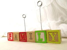 FAMILY Alphabet Blocks Picture Stand Photo Clip by EcoBrilliance