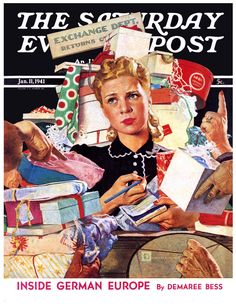 "1941 ""Store Gift Exchange"" - Saturday Evening Post Cover - Douglass Crockwell Art Vintage art print from Retro Reveries shop on Etsy. Norman Rockwell Art, Norman Rockwell Paintings, Noel Christmas, Vintage Christmas, Christmas Comics, Christmas Pictures, White Christmas, The Saturdays, Magazin Covers"