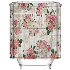 Pink Rose Flower Vine Barn Door Shower Curtain, HD #showercurtainsets Barn Door Shower Curtain, Shower Curtain Sets, Shower Doors, Towel Holder Bathroom, Bathroom Rug Sets, Modern Bathroom, Wooden Bathroom Accessories, Pink Rose Flower, Bathroom Hardware