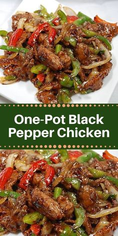 One-Pot Black Pepper Chicken - Healthy Food And Delicious Re. - One-Pot Black Pepper Chicken – Healthy Food And Delicious Recipes Recipes With Chicken And Peppers, Chicken Stuffed Peppers, Chicken With Bell Peppers, Chicken Bell Pepper Recipes, Peppered Chicken Recipe, Recipes With Ginger, Meals With Chicken, Spicy Fried Chicken, Baked Pork