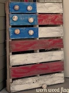 reclaimed, palette, wood, flag, us, baseball, boys room art, ideas, man cave