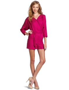 BCBGeneration Women's Black 3/4 Sleeve Romper Dress -        This romper has snap closure at the bust.This romper hits above the knee.  This romper  has a vneck and ties at the waist.            List Price: $  98.00    Price: $  98.00  Click here for
