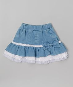 Frills du Jour White & Blue Ruffle Skirt - Toddler & Girls | zulily