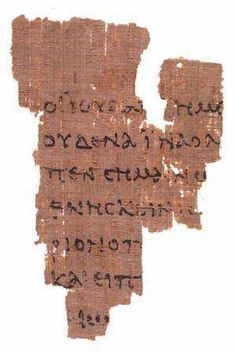 """""""The Earliest Known Fragment of the New Testament (Circa 100 – 150 AD): A fragment from a papyrus codex known as P52, measuring only 3.5 by 2.5 inches (9 by 6.4 cm) at its widest; and conserved at the John Rylands Library at Manchester, the Saint John Fragment is generally accepted as the earliest extant record of a canonical New Testament text. The front (recto) contains lines from the Gospel of John 18:31-33, in Greek, and the back (verso) contains lines from verses 37-38."""""""