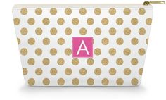 Personalized Make Up Bag - Gold Glam Dots - Caroline And Company