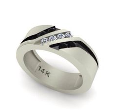 Mens Wedding Band 14kt White Gold with Round Black Spinel And Round Natural FSI1 Diamonds .22cttw Wedding Ring Mens Ring on Etsy, $1,190.00