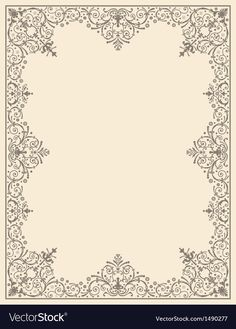 Ornamental frame vintage vector image on VectorStock Madrid Skyline, Kansas City Skyline, Free Vector Images, Vector Free, Adobe Illustrator, Louisville Skyline, Art Deco Invitations, Frame Border Design, Vintage Photo Frames