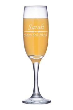 Any Text, Custom Engraved Champagne Flute, Personalized Champagne Glass - CG01