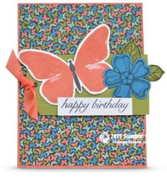 Stampin Up card Happy Birthday Butterflies. Tami White.— STAMPIN UP S U P P L I E S — • Birthday Blossoms Clear-Mount Stamp Set #139471 • Watercolor Wings Photopolymer Stamp Set #139424 • Basic Black Archival Stampin' Pad #140931 • Calypso Coral Classic Stampin' Pad #126983 • Calypso Coral 8-1/2 X 11 Card Stock #122925 • Old Olive Classic Stampin' Pad #126953 • Old Olive 8-1/2X11 Card Stock #100702 • Pacific Point 8-1/2X11 Card Stock #111350 • Pretty Petals Designer Series Paper Stack #13844...