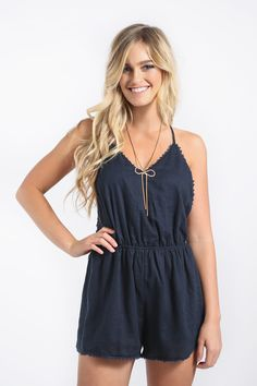 Evelyn Navy Trim Romper