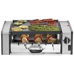 The Cuisinart Griddler Compact Grill Centro features hot dog rollers as well as a grill and griddle combination. Versatile enough for breakfast, lunch, and dinner, the appliance is capable of cooking much more than everyday grill favorites. Kebabs, Cool Kitchen Gadgets, Cool Kitchens, Kitchen Stuff, Kitchen Tools, Kitchen Ideas, Kitchen Products, Outdoor Kitchen Countertops, Kitchen Dining