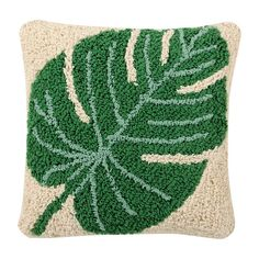 Lorena Canals Cotton Pillow/Throw Monstera Washable Pillow, Green (Beige) – Rug making Decoration Design, Deco Design, Lorena Canals, Deco Nature, Cozy Room, Leaf Shapes, Punch Needle, Cotton Pillow, Embroidery Patterns