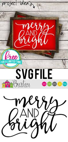 Free svg file, Merry and Bright, Christmas SVG File Gratis svg-bestand, Merry en B. Easy Crafts To Sell, Paper Crafts For Kids, Diy Crafts, Wood Crafts, Merry Christmas, Christmas Crafts, Xmas, Christmas Photos, Cricut Projects Christmas