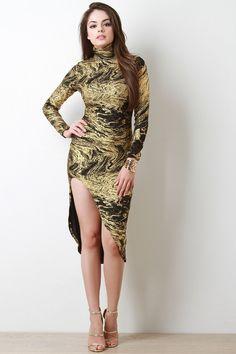 Metallic Swirl Turtleneck Slit Midi Dress – Shop Girl Style