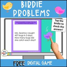 Engage your students with this word problem game that is perfect to play in class or for distance learning. No prep! A recording sheet is included for students to show their thinking as they solve each problem. After they have solved the problem, students check their answers by tapping on the birdie that hides the solution. Fun and motivating! Fun Math Activities, Math Resources, Classroom Freebies, Multiplication And Division, Free Math, Elementary Math, Word Problems, Math Lessons, Homeschooling