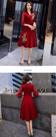 red tulle long sleeve formal dress #longsleeveformaldress #tulleformaldress Satin Tulle, Red Satin, Formal Dresses With Sleeves, Prom Dresses, Lace Up, V Neck, Zipper, Embroidery, Long Sleeve