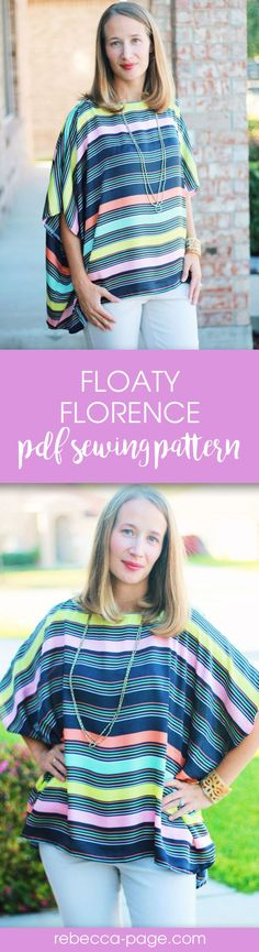 Beautiful floaty top pdf sewing pattern. Perfect for chiffon, georgette, and light weight wovens. Great spring or summer quick sewing project. Perfect for beginner sewers. Sizes XXS to 5XL.