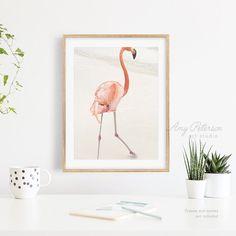 Flamingo Walking On Beach Tropical Flamingo Flamingo Wall   Etsy