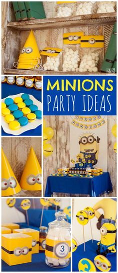 All the Minions are there at this fun yellow and blue party! See more party ideas at CatchMyParty.com!