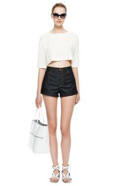 Crinkled Linen Cropped Top by Isa Arfen - Moda Operandi