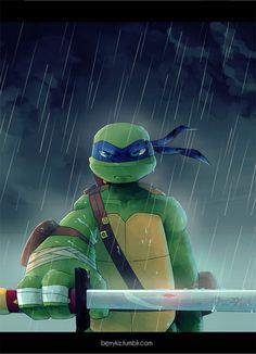 Leonardo in the rain. Tmnt 2012, Dojo, Tortugas Ninja Leonardo, Turtles Forever, Tmnt Leo, Leonardo Tmnt, Teenage Ninja Turtles, Fan Art, Animation