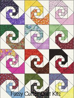 Scrappy Fabric Snails Trail Easy Pre-Cut Patchwork Quilt Blocks Top Kit