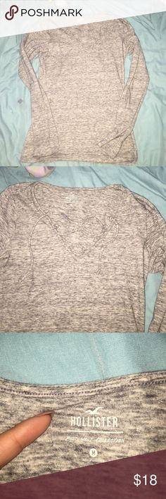 long sleeve gray top by Hollister Gray granite shirt long sleeve worn once didn't fit me how I thought crossed at top Hollister Tops Tees - Long Sleeve