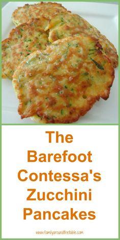 The Barefoot Contessa's Zucchini Pancakes A delicious side dish made with garden fresh zucchini. - The Barefoot Contessa's Zucchini Pancakes - Oh So Good! Zuchinni Recipes, Veggie Recipes, Appetizer Recipes, Vegetarian Recipes, Cooking Recipes, Healthy Recipes, Appetizers, Large Zucchini Recipes, Shredded Zucchini Recipes