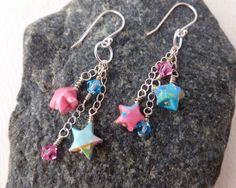 Star Earrings - Origami Stars Lucky Stars in Blue and Pink