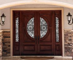Wood door with inserts and sidelites. Wood doors Toronto, presented by M. Doors, manufacturer of custom wood doors and wrought iron inserts Home Door Design, Wooden Main Door Design, Modern Wooden Doors, Double Door Design, Door Gate Design, Custom Wood Doors, Front Door Design, Bay Window Exterior, Interior Exterior