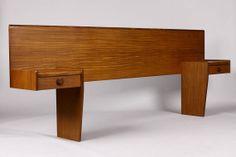 Danish Modern / Mid Century Teak Headboard + Floating nightstand Assembly — Full Size — Angled Profile on Etsy, $1,495.00