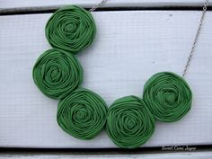 Clover Green Rosette Necklace Bib Necklace by SweetCamiJayne