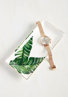 Leaf the Fest to Me Jewelry Dish. Bring a piece of paradise to your home with this tropical dish, and youll feel equatorially elegant everytime you get ready! #white #modcloth