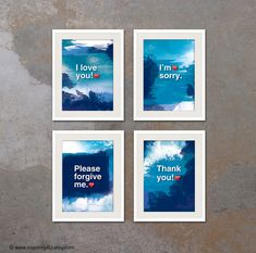 4XA3. Ho'oponopono healing Sentences. SET of 4 by inspiring4U Meditation Quotes, Yoga Meditation, Motivational Posters, Quote Posters, We Are All One, What Inspires You, Forgiving Yourself, Typography Poster, Tai Chi