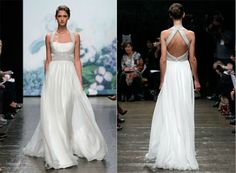 Perfect for a beach wedding, the name of the gown says it all. Holiday from Monique Lhuillier Fall 2012 Bridal Collection. This gown fits every aspect of a destination beach wedding getaway. Soft flowing chiffon skirt, beautiful halter neckline with crystal straps that continue down to wrap around the natural waist.