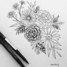 Floral flower drawing black and white illustration pinterest another gorgeous custom piece ready to ship maybe its time to order yours mightylinksfo