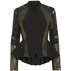 Pinghe Isabel Black And Gold Jacket ($1,844) ❤ liked on Polyvore featuring outerwear, jackets, embroidered jacket, 100 leather jacket, star jacket, print jacket and pattern jacket