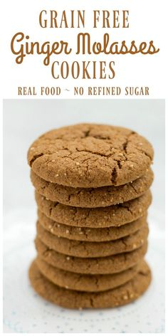Grain Free Ginger Molasses Cookies made with cassava flour are soft and chewy with the perfect crispy outside. Spicy and sweet, these tasty, real food cookies with no refined sugar are perfect for the holidays. Paleo Cookies, Gluten Free Cookies, Gluten Free Desserts, Paleo Dessert, Healthy Sweets, Dessert Recipes, Breakfast Recipes, Real Food Recipes, Cookie Recipes