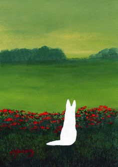 german shepherd art | White German Shepherd Dog art PRINT Wild Poppies of Todd Young ...