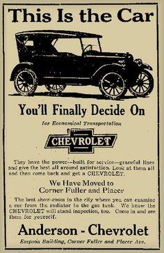 Old Chevrolet Newspaper Advertisement
