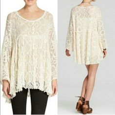 ️Oversized Slouchy Boyfriend Free People baby doll Runs big will fit a size medium / large layer over a tank or slip dress . Free people crochet ️️Lace raw edge tunic dress. Size tag shows XS/ads Free People Tops