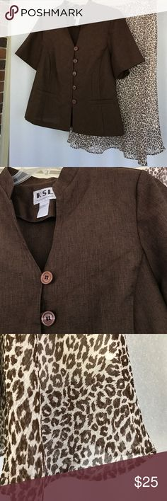 Woman's two piece skirt & Jacket Beautiful brown jacket with cheta Sheere skirt fully lined KSL Dresses Midi