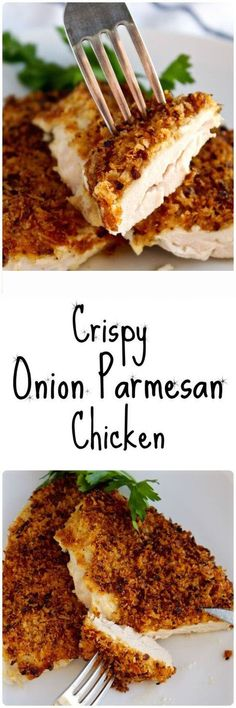 Crispy Onion Parmesan Chicken, easy and delicious way to make baked chicken breasts with mayonnaise, parmesan and fried onions, a weeknight dinner favorite. Spicy Recipes, Turkey Recipes, Cooking Recipes, Healthy Recipes, Cake Recipes, Dinner Recipes, Zoodle Recipes, Bariatric Recipes, Simple Recipes