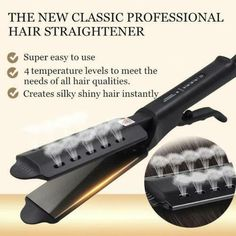 Four-Gear Ceramic Tourmaline Ionic Flat Iron Hair Straightener with Steam for Women Black, CYCTECH 4 Level Adjustable Temperature - Built-in Nano PTC - Treatment for Dry Wet Hair Home Salon Steam Hair Straightener, Professional Hair Straightener, Ceramic Hair Straightener, Hair Straightening Iron, Hair Curler, Curling Iron, Different Hair Types, Hair Iron, Hair Quality