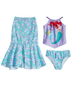 For your little mermaid. She'll love getting her tail on when she wears this totally fun The Little Mermaid swim set by Dreamwave. Girls Summer Outfits, Little Girl Outfits, Cute Girl Outfits, Summer Girls, Little Girls, Baby Kids Clothes, Toddler Girl Dresses, Girls Dresses, Toddler Girls