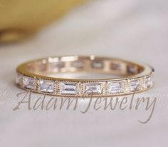 New Design Unique Baguette Diamond Ring 14K Yellow Gold Wedding Ring/Band Full Eternity Band Promise Engagement Ring/ Anniversary Ring