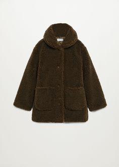 Cappotto collo pelliccia di pecora - Bambina | Mango Kids Italia Faux Shearling Coat, Fur Coat, Neck Collar, V Neck, Kids Usa, Turtle Neck, Long Sleeve, Pullover, Midi
